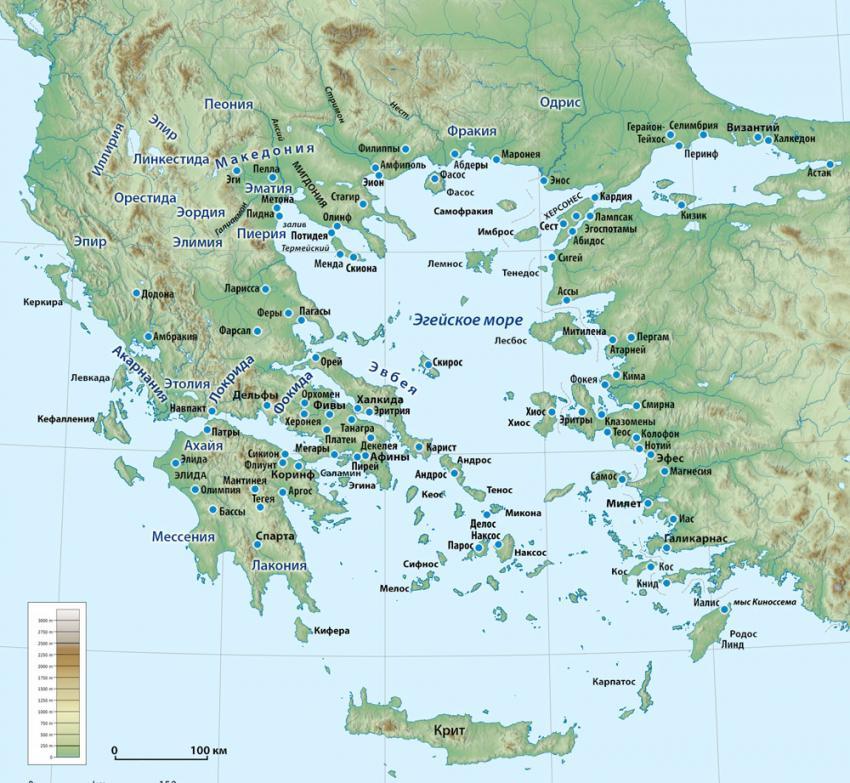 Карта Древней Греции (IV–V вв. до н.э.)